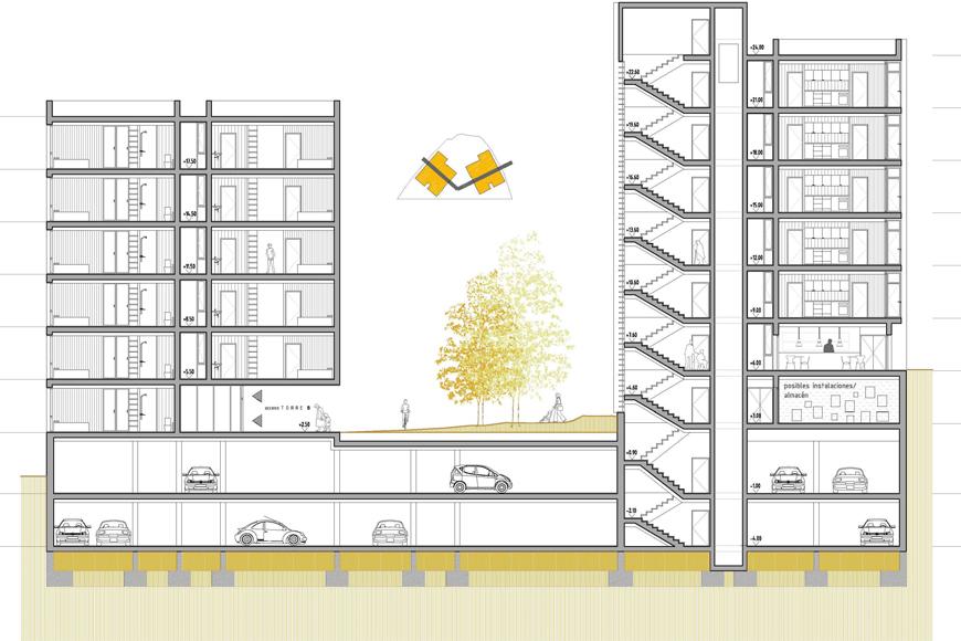55 apartamentos tutelados intxaurrondo san sebasti n for Edificio de departamentos planos
